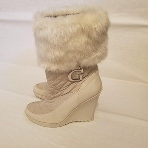 Guess  Quilted and Faux Fur Snow Boots Size 8